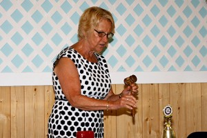 gallery Judy shows off our brand new club gavel