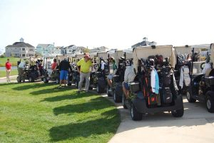 Photo of golf carts ready to go