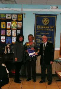 Membership Chair, Judy Mangini (left) welcomes new member Paulette Rappa with President Mike Hall