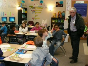 Rotarians present Thesauruses to third graders at Long Neck Elementary School